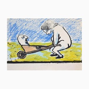 Mino Maccari, the Hand-Cart, Original Lithograph on Paper, 1930s
