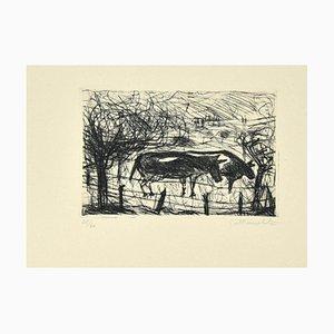 Nazareno Gattamelata, Kühe, Originale Radierung, spätes 20. Jahrhundert