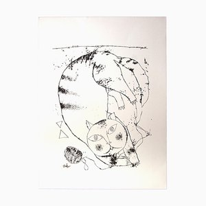 Franco Gentilini, die Katze, Original Offset, 1970er
