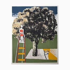 Franco Gentilini, Figur und Baum, Original Offset, 1970er