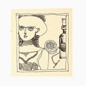 Franco Gentilini, Portrait de femme, Offset original, 1970