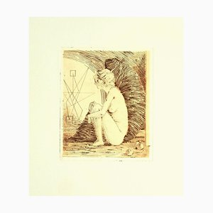Leo Guida, Nude, Original Etching on Paper, 1970s