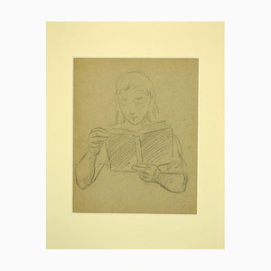 Unknown, Reading Woman, Original Bleistift auf Papier, 1940er