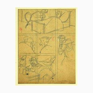 Gabriele Galantara - Maquette für L'asino, Original Bleistift und Federzeichnung, 1900er