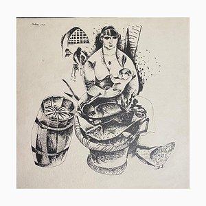 Boris Kellmann, Frau mit Baby auf dem Markt, Originallithographie, 1922