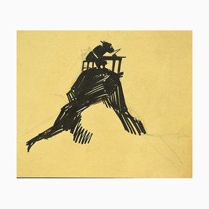 Gabriele Galantara, L'asino Legge L'asino, Original Ink on Cardboard, 1920s