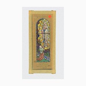 Louis Balmet, Sketch für ein Glasfenster, Tinte und Aquarell, 1920er