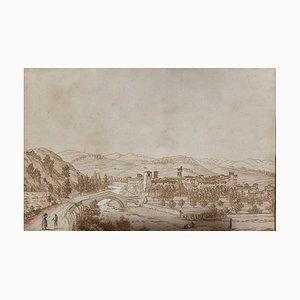 Unbekannt, Landschaft, Original China Ink Drawing, 19. Jahrhundert