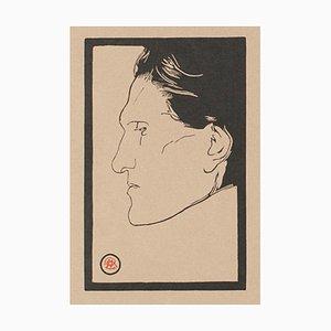 Bois de Reinhold Lepsius, Portrait de Stefan George, Original Woodcut, Début 1900