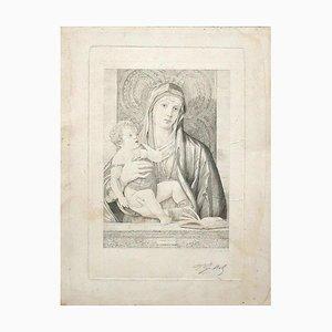 Ferdinand Gaillard, Madonna and Child, Original Bulino, 19th Century