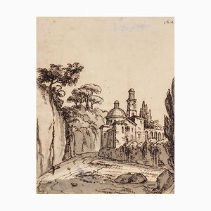 Unknown, Landscape, Rome, Original China Ink and Watercolor, 18th Century