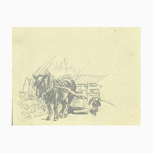 Sconosciuto, cavallo, disegno a matita originale, 1880