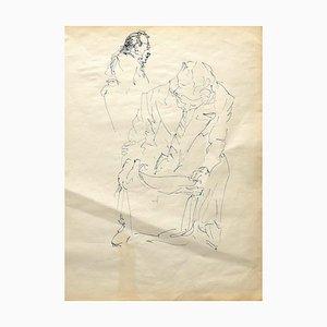 Inconnu, Portrait, Dessin original à la plume, 1950