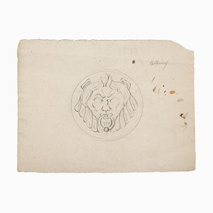 Pierre Andrieu, Lion Head, Original Pencil Drawing, 19th Century