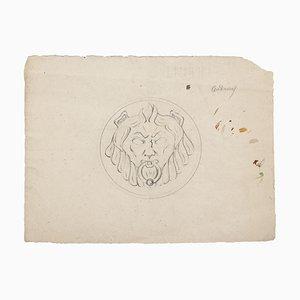 Pierre Andrieu, Löwenkopf, Original Bleistiftzeichnung, 19. Jahrhundert