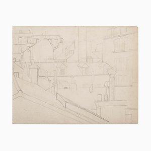 Desconocido, casas parisinas, dibujo original a lápiz, siglo XX