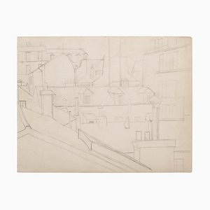 Unknown, Parisian Houses, Original Drawing in Pencil, 20th Century