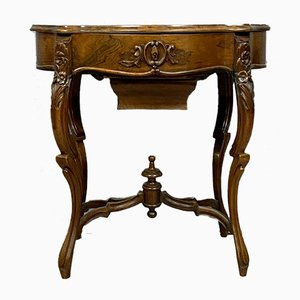 Louis XV Rocaille Violin-Shaped Mahogany and Maple Dressing Table, 1850s
