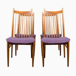 Große Dänische Teak & Stoff Esszimmerstühle von Arne Vodder, 1960er, 4er Set