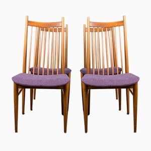 Large Danish Teak & Fabric Dining Chairs in the Style of Arne Vodder, 1960s, Set of 4