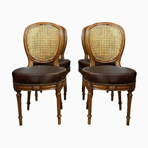 Antique Louis XVI Medallion Varnished Hardwood Dining Chairs, Set of 4
