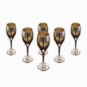 Vintage Silver Metal Champagne Flutes, Set of 6