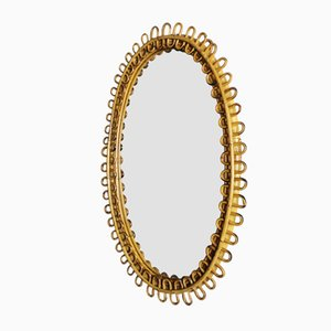 Mid-Century Bamboo and Rattan Mirror by Franco Albini, 1950s