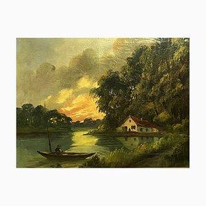 J. Chatelin, Barbizon School Large Painting, Öl auf Leinwand
