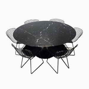 Black Marble Tulip Dining Table & Black Wire Chairs by Eero Saarinen & Harry Bertoia for Knoll Inc. / Knoll International, 1970s, Set of 7