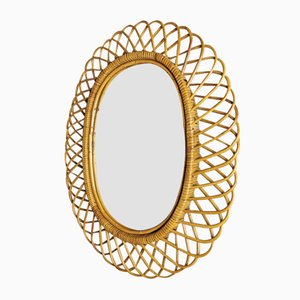 Mid-Century Bamboo and Rattan Mirror, 1950s