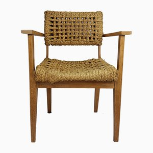Oak and Rope Lounge Chair by Adrien Audoux & Frida Minet for Vibo Vesoul, 1950s