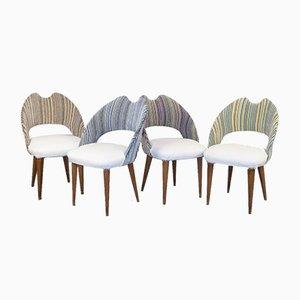 Vintage Esszimmerstühle aus Dacron Samt & Holz, 1970er, 4er Set