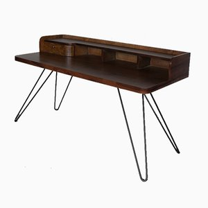 Mid-Century Modern Walnut Lady Desk with Hairpin Legs, 1950s
