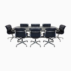 Boardroom Table & Leather Soft Pad Chairs Set by Charles & Ray Eames for Herman Miller & Vitra, 1980s, Set of 9