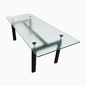 Vintage LC6 6-8 Seat Dining Table with Textured Crystal Glass Top by Le Corbusier for Cassina, 1980s