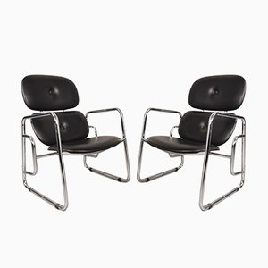 Vintage Tubular and Faux Leather Lounge Chairs from Poltronova, 1970s, Set of 2