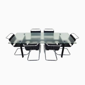 LC6 Dining Table & MR10 Chairs Set by Le Corbusier & Mies van der Rohe for Cassina & Knoll, 1980s, Set of 7