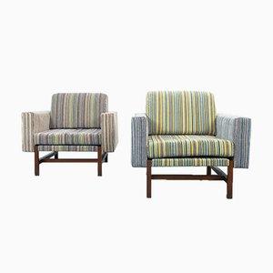 Vintage Sessel aus Samt & Holz, 1970er, 2er Set