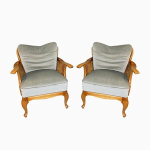 Mid-Century Chippendale Style Dove Blue Wicker Club Chair