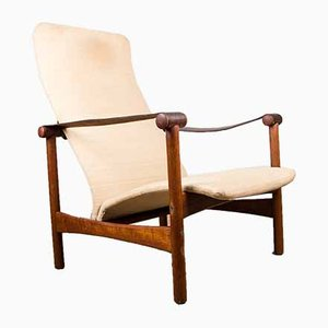 Large Danish Teak, Fabric, Leather & Brass Lounge Chair, 1950s