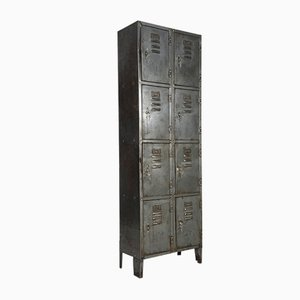 Vintage Industrial Stripped Steel 8 Locker Cabinet, 1960s