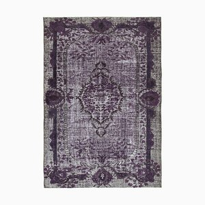 Vintage Purple Hand Knotted Wool Overdyed Carpet
