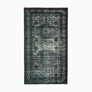 Black Antique Handwoven Carved Overdyed Carpet