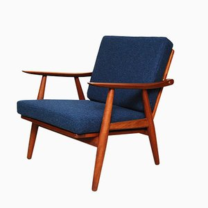 Blue GE-270 Lounge Chair by Hans Wegner for Getama