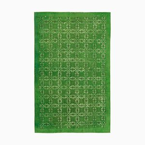 Green Antique Handwoven Carved Over dyed Carpet