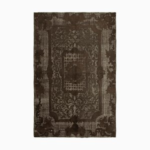 Brown Anatolian Hand Knotted Wool Overdyed Carpet