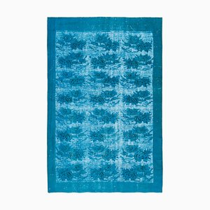 Turquoise Vintage Hand Knotted Wool Over-dyed Carpet