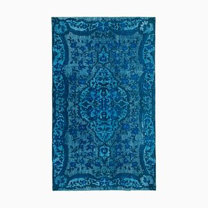 Turquoise Oriental Handwoven Carved Overdyed Carpet