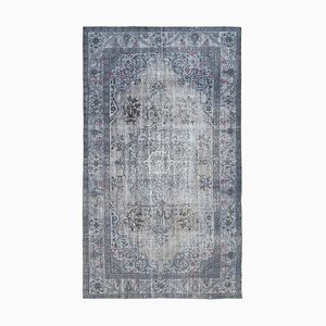 Grey Vintage Hand Knotted Wool Over-dyed Carpet
