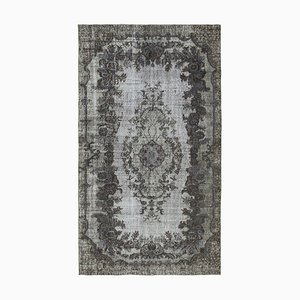 Vintage Grey Hand Knotted Wool Overdyed Carpet
